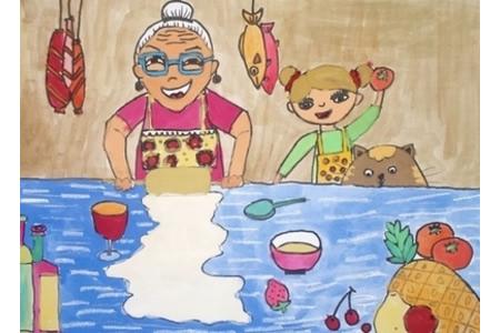 欢庆重阳节儿童画之奶奶为我下厨房