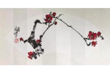 凌寒独放的梅花,扇面国画
