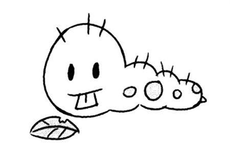 可爱的卡通毛毛虫简笔画