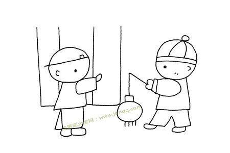 小男孩玩灯笼