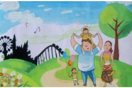 儿童画 幸福的一家人
