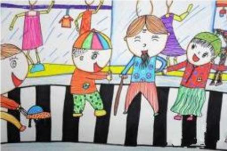 学雷锋做好事儿童画作品之给老爷爷让座