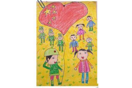 长大后我就成了你,国庆节主题儿童画作品