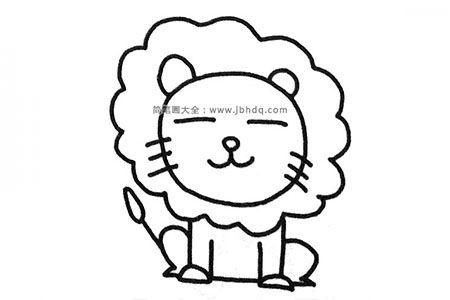 一组可爱的小狮子简笔画图片