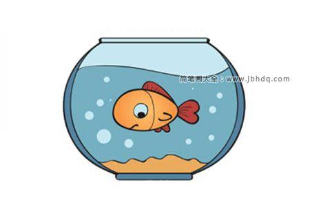 鱼缸里可爱的小金鱼简笔画图片