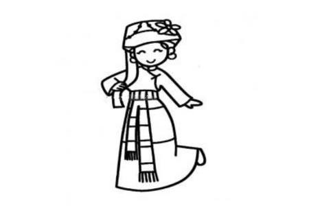 普米族小女孩简笔画
