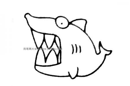 四步画出卡通鲨鱼