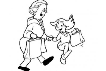 和奶奶逛街简笔画