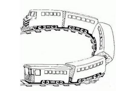 爬坡的火车简笔画图片