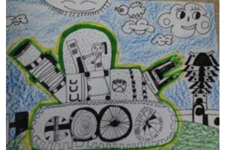阅兵式上的坦克,以国庆节为主题的儿童画欣赏