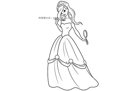 照镜子的漂亮公主