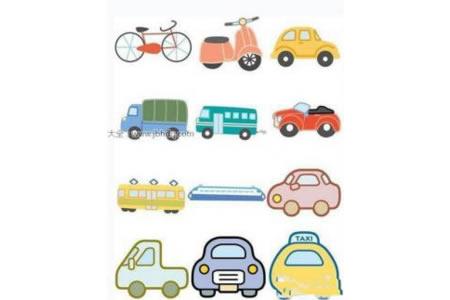 彩色交通工具简笔画图片