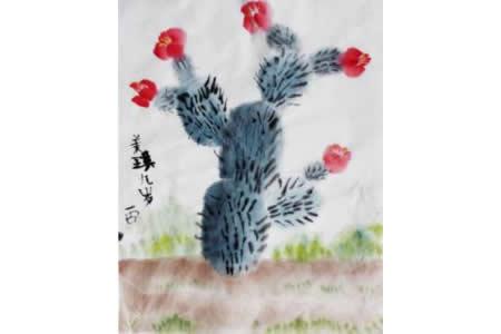 开花的仙人掌国画