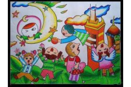 中秋节为主题儿童画-我和月亮做朋友