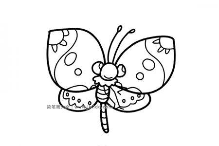 两张漂亮的花蝴蝶简笔画图片