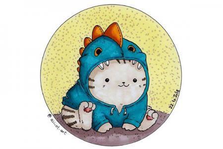 一组可爱猫咪卡通插画