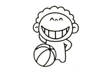 喜欢篮球的小男孩简笔画