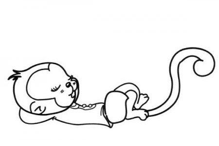 睡觉的猴子简笔画