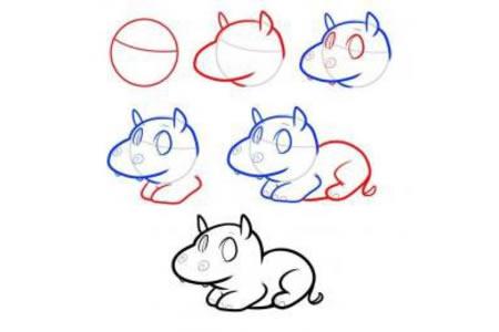 动物简笔画教程 河马的简笔画画法