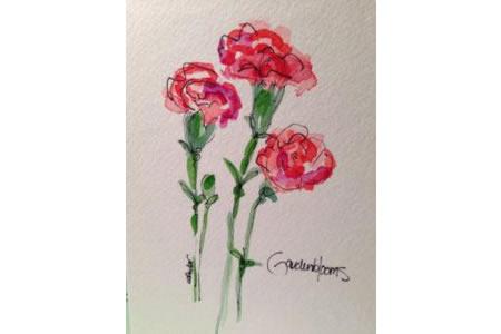 妇女节绘画作品之画一束康乃馨送妈妈