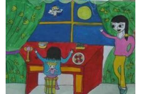 奇妙的中秋之夜,庆祝中秋节儿童画作品