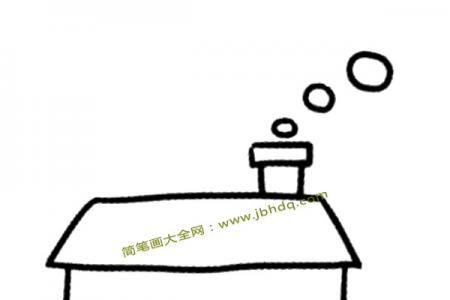 炊烟袅袅的房屋简笔画图片