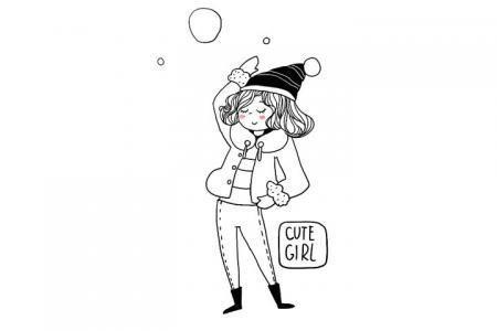 冬日时尚可爱小女孩