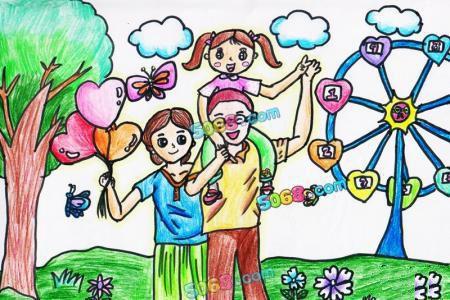关于感恩节的儿童画-我爱爸爸妈妈