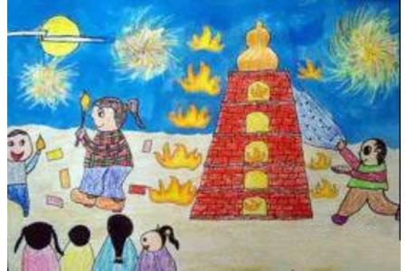 中秋节儿童画范画-节日的相聚