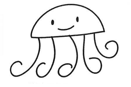 三张卡通水母简笔画图片