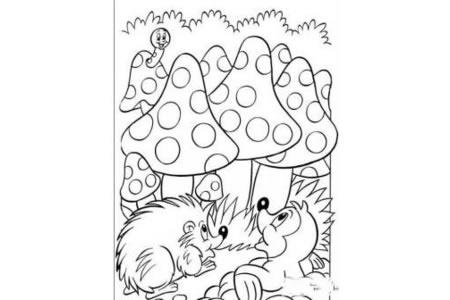 毛毛虫、刺猬和磨茹图简笔画
