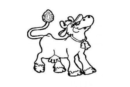戴铃铛的奶牛简笔画