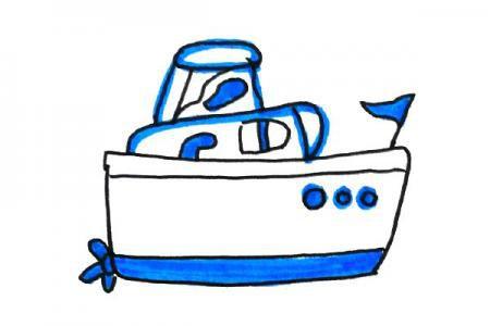 清新海洋风格游艇简笔画