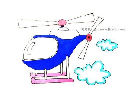 一步一步教你画直升机简笔画