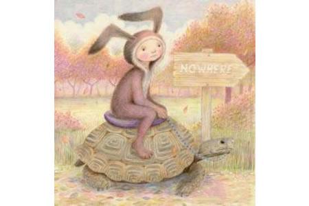 骑着乌龟的小女孩彩铅画作品欣赏
