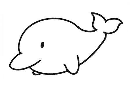 一组可爱的海豚简笔画图片