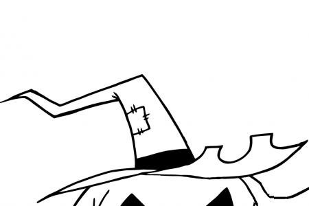 带着女巫帽的可怕的空心南瓜灯