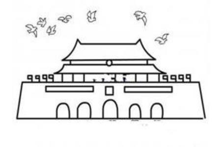 天安门与和平鸽简笔画图片