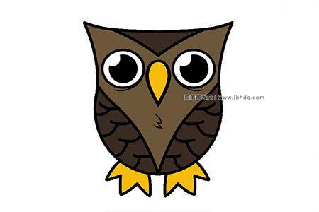 简笔画教程|3分钟学画简单的猫头鹰