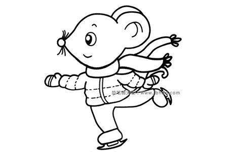 滑冰的小老鼠简笔画图片