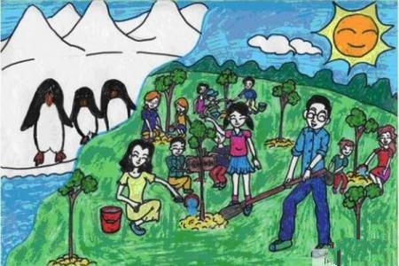 和爸爸妈妈一起去种树植树节主题画分享
