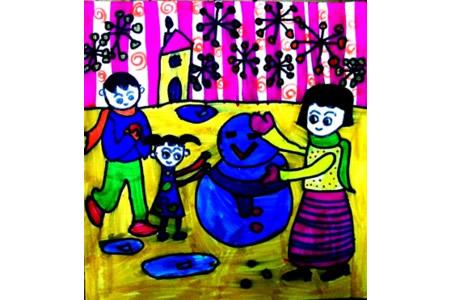 关于冬天的儿童画-我和爸爸妈妈堆雪人