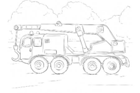 卡车起重机简笔画图片