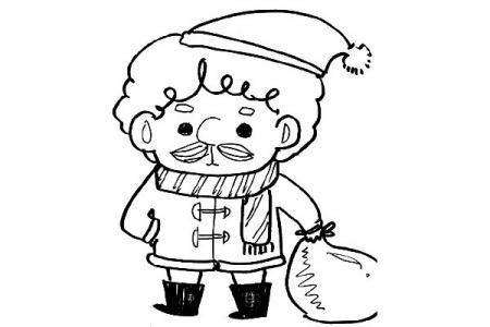 一支笔就能搞定的可爱简笔画圣诞老人
