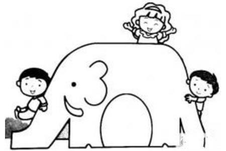 大象滑滑梯简笔画