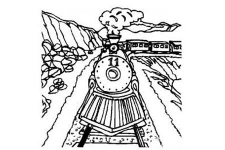 行驶中的火车简笔画图片
