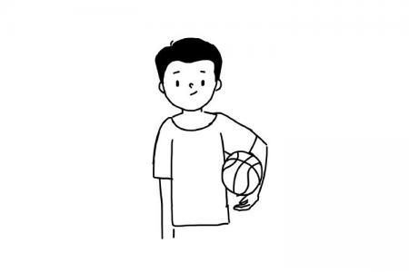 打篮球的帅气男孩