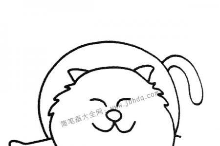 偷懒的小猫简笔画图片