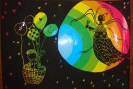 关于中秋节儿童画-中秋赏月