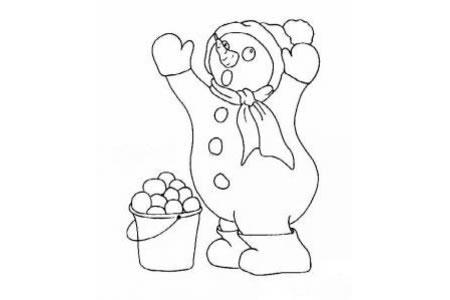 玩雪球的雪人简笔画